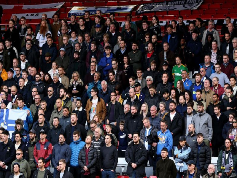 Preston North End supporters during the minute's silence before the Charlton game
