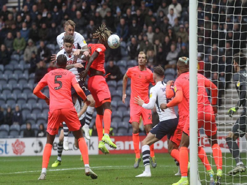 Patrick Bauer gets up high to head goalwards in PNE's win over Huddersfield