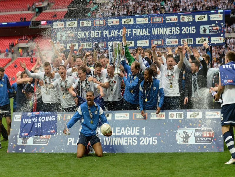 Preston North End celebrate ending the play-off curse, winning the League One play-off final at Wembley in 2015.