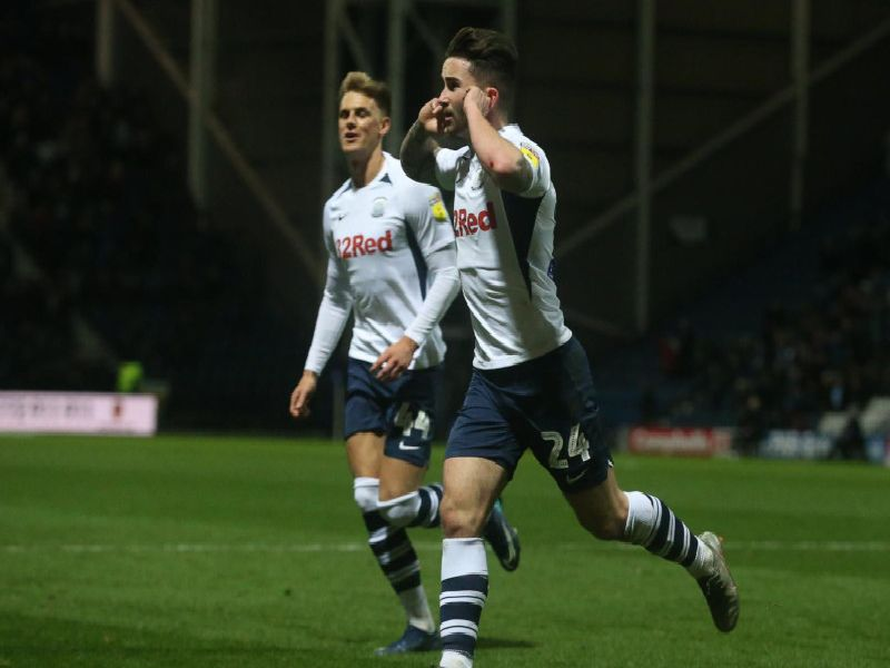 Sean Maguire celebrates getting the first goal of the game.
