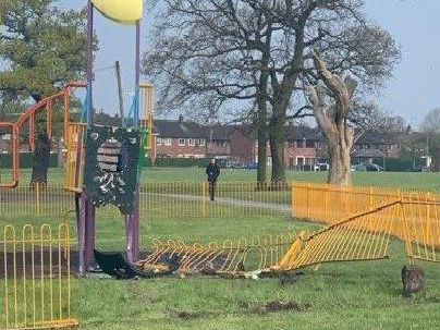 Damage caused to the children's play area in Ashton Park after a car crashed into railings following a police chase on Monday, April 15.