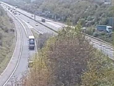 The M61 southbound slip road in Chorley has been restricted to one lane after a vehicle broke down on the carriageway. Pic- Motorway Cameras