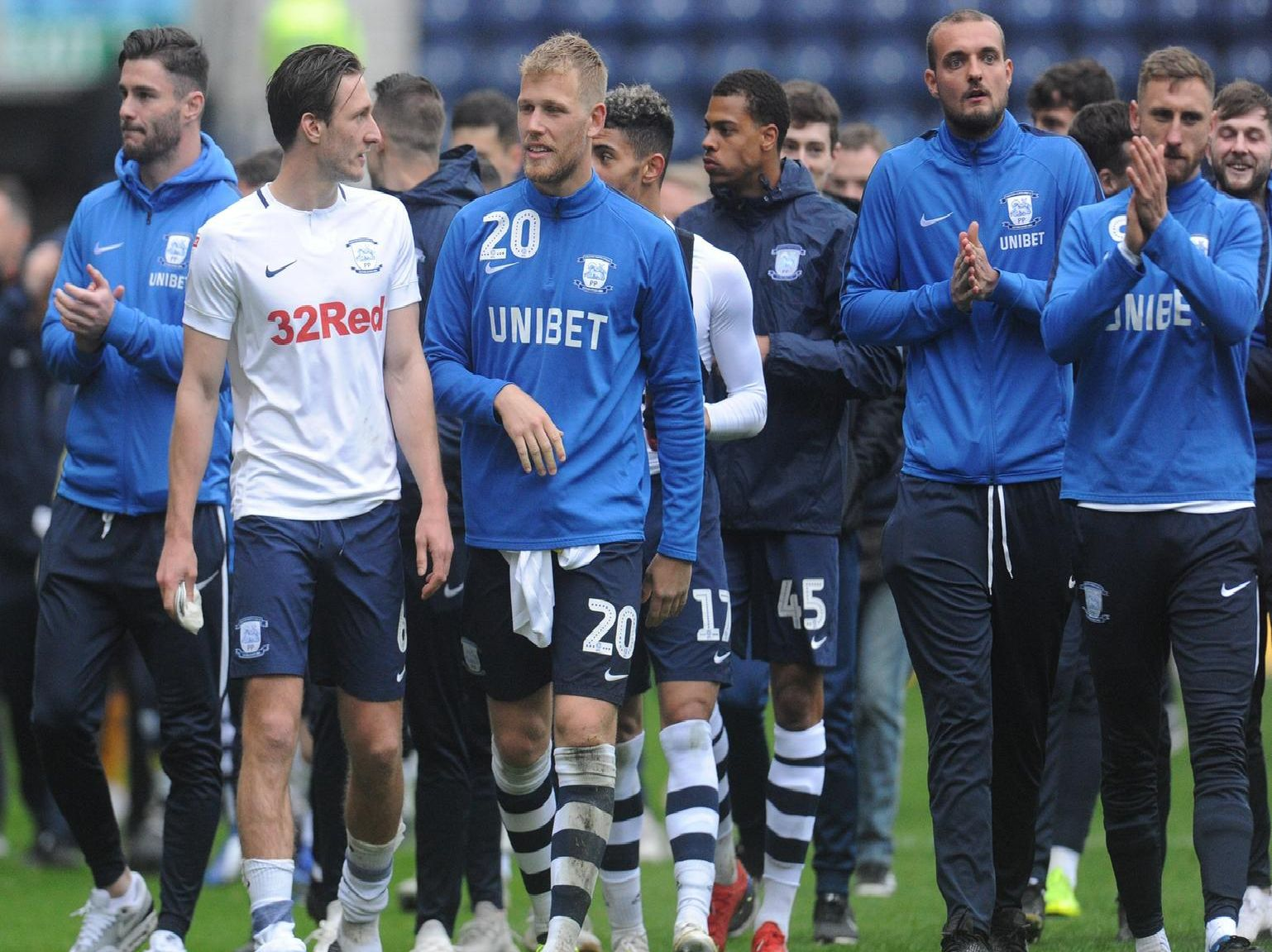 The Preston squad on their lap of thanks at Deepdale