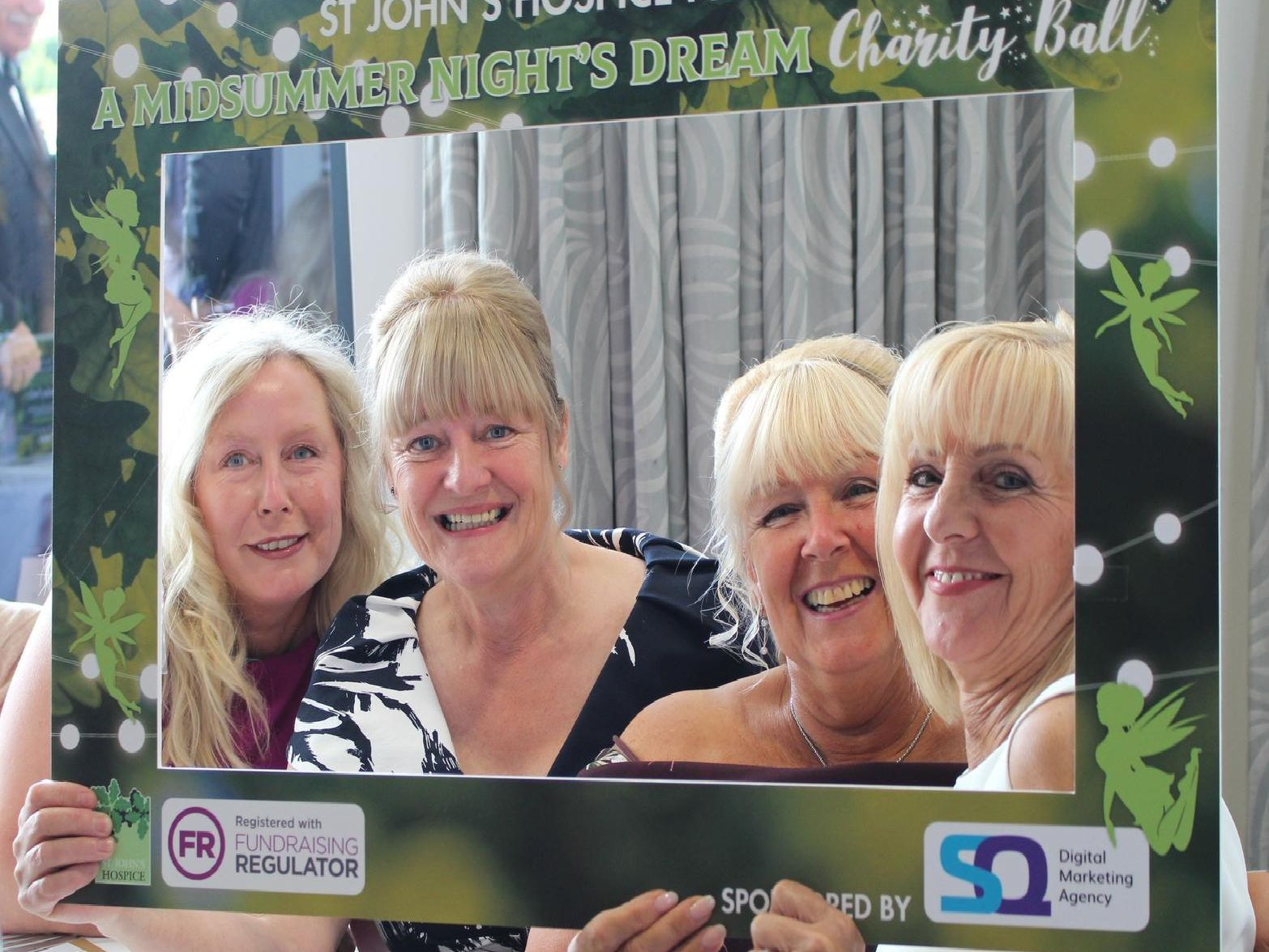 Pat Marshall and friends at the Midsummer Nights Dream Ball for St John's Hospice, Lancaster.