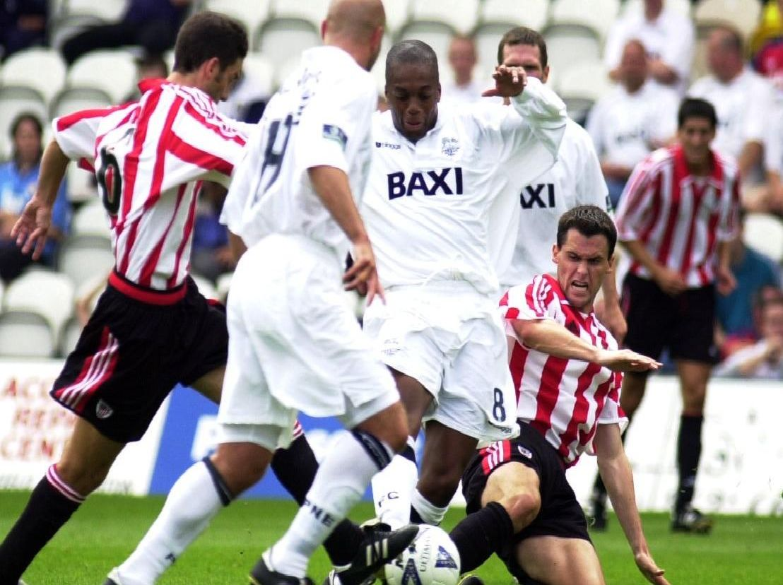 Preston midfielder Mark Rankine in the thick of the action against Athletic Bilbao at Deepdale in 2000