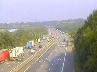 The vehicle has caught fire on the M6 southbound near Lancaster Services