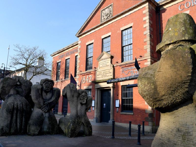 The Preston Martyrs Memorial, located in front of 1842 (formerly The Corn Exchange), is a dedication to the four  cotton workers who were shot during The Preston Strike and Lune Street Riot in August 1842.
