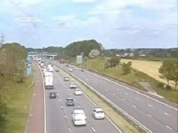 Congestion is building on the M6, between junctions 33 and 34, due to one lane being closed whilst grass cutting takes place in the central reservation