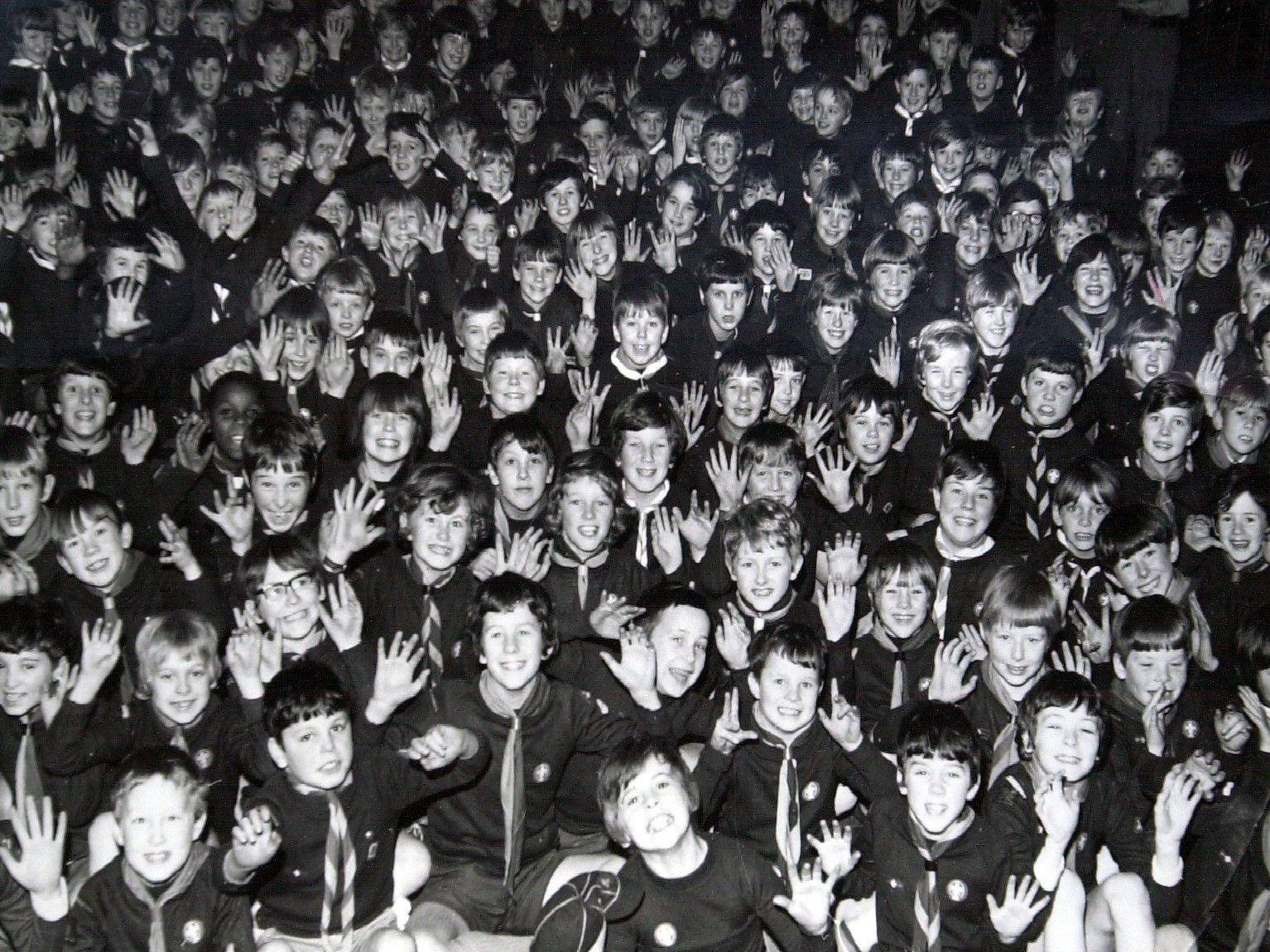 The smiling faces of a large number of Preston cub scouts, taken in 1970