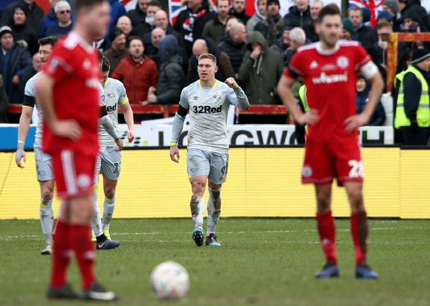 ACCRINGTON, ENGLAND - JANUARY 26:  Martyn Waghorn of Derby County celebrates after scoring his team's first goal during the FA Cup Fourth Round match between Accrington Stanley and Derby County at Wham Stadium on January 26, 2019 in Accrington, United Kingdom.  (Photo by Jan Kruger/Getty Images)