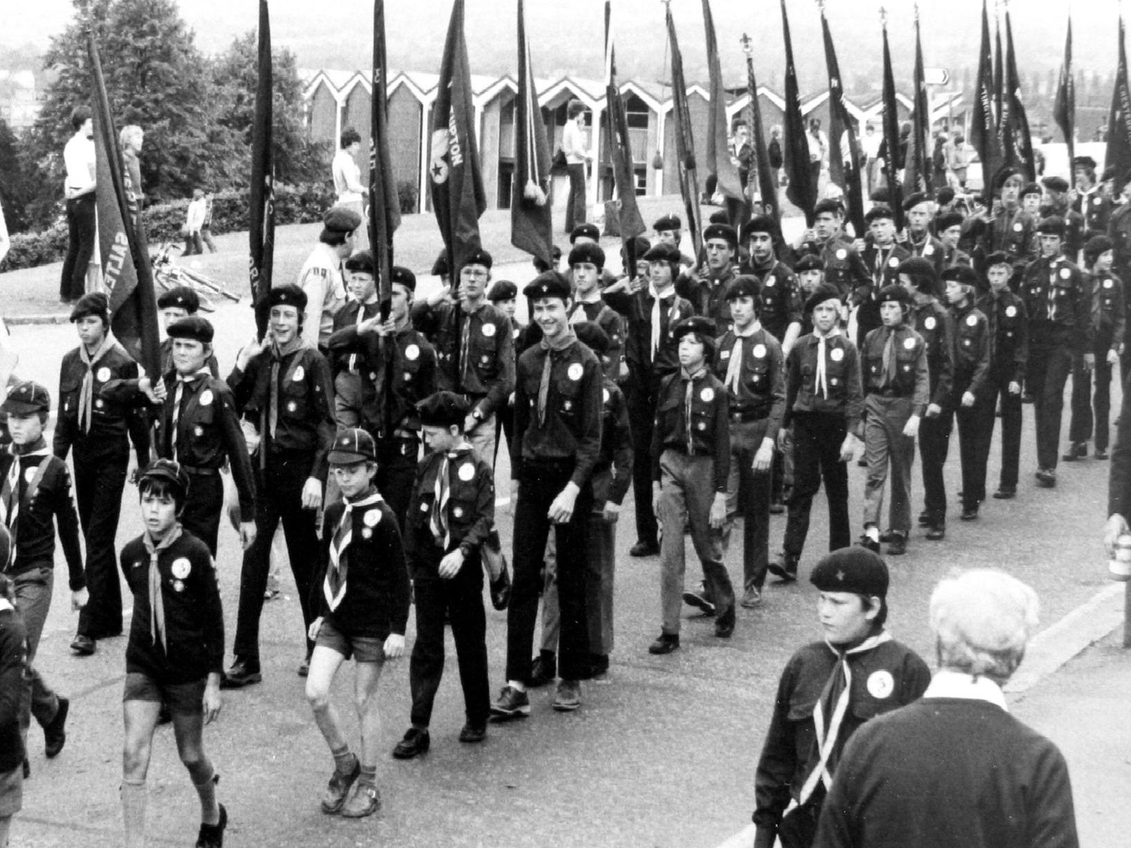 Scouting feature - 1982 - 75 years of scouting milestone flag parade through Chesterfield