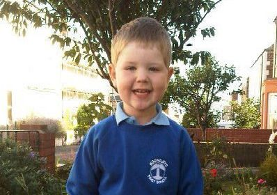 Will Woods pictured in September 2012 on his first day of school at Rockcliffe First School.