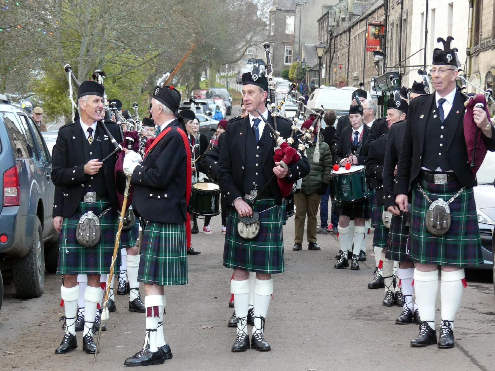 Rothbury Highland Pipe Band on their New Year's Day tour, photographed by Jeff Reynalds.