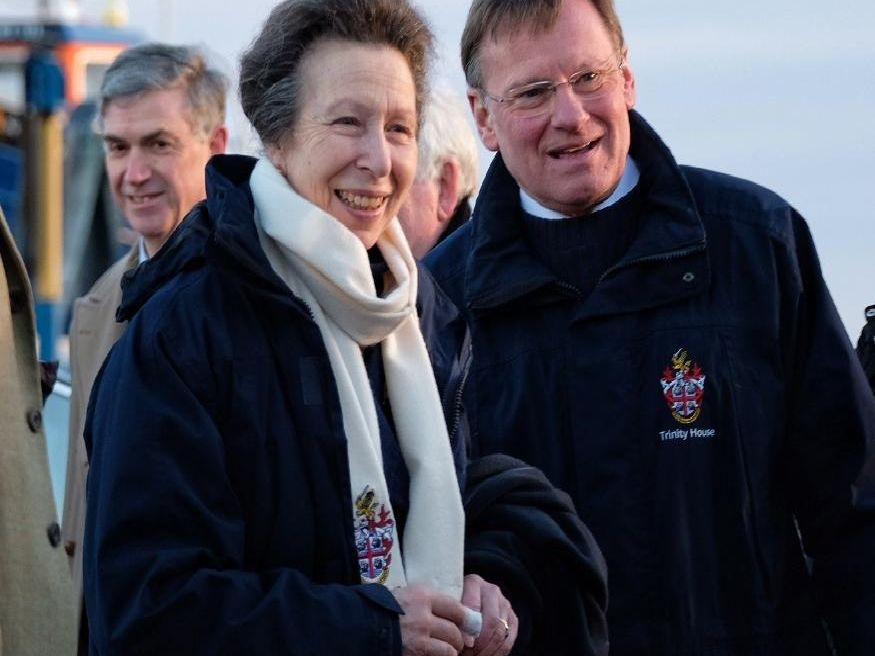 Princess Anne with Captain Ian McNaught from Trinity House