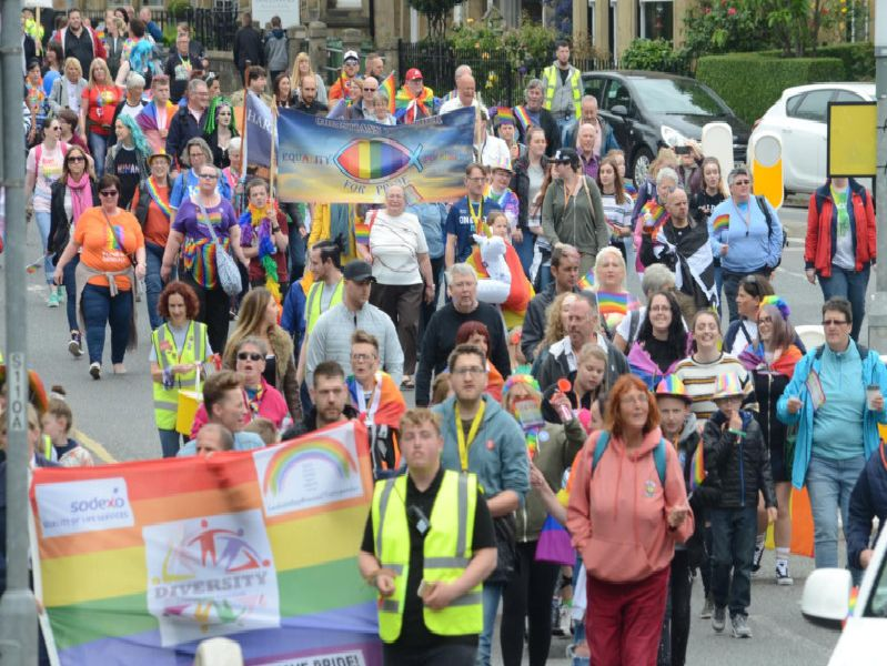 The Northumberland Pride 2019 parade makes its way through Alnwick on Saturday, June 1. Picture by Steve Miller