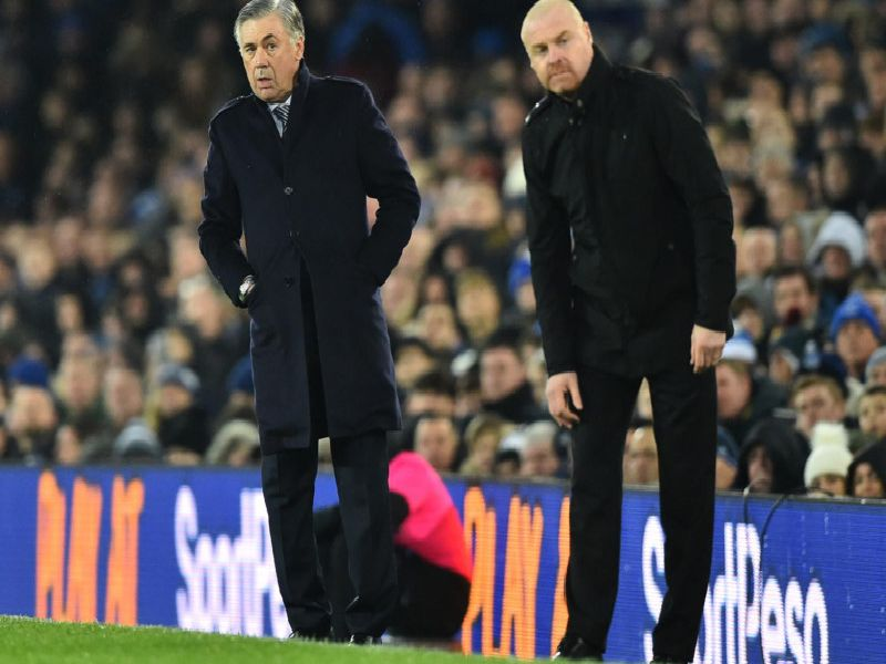 New Everton boss Carlo Ancelotti and Burnley manager Sean Dyche at Goodison Park on Boxing Day.