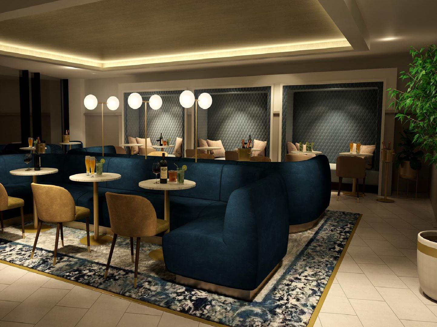 Computer image of a pre-function area in the hotel