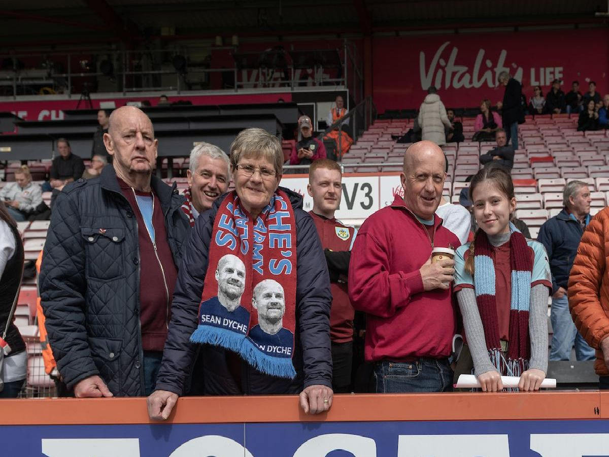 Burnley fans soak up the south coast atmosphere while watching a comprehensive performance from the Clarets. Photo David Horton/CameraSport