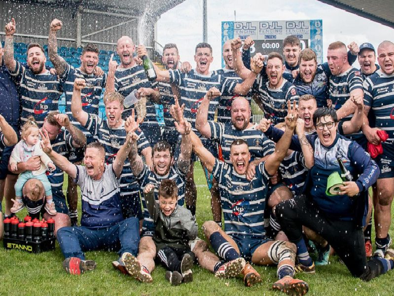 Featherstone Lions celebrate winning the National Conference Division One play-off final. Picture: Jonathan Buck