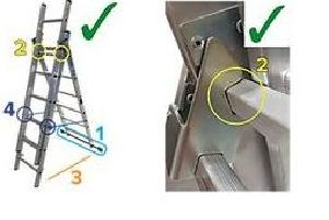 Anyone in possession of a ladder which does not have the blue locking bars or the bottom stabiliser bar, should not use it.