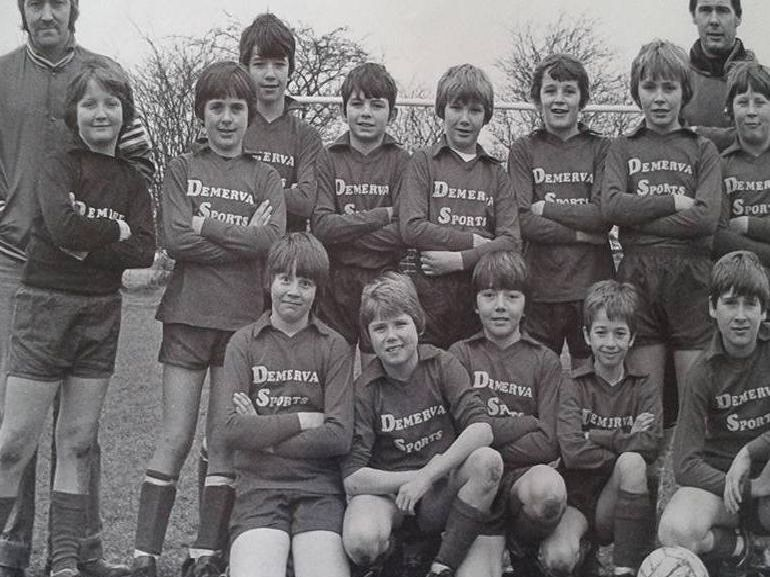 Members of the Heanor Junior Rams under 13s in the late 1980s or early 1990s.
