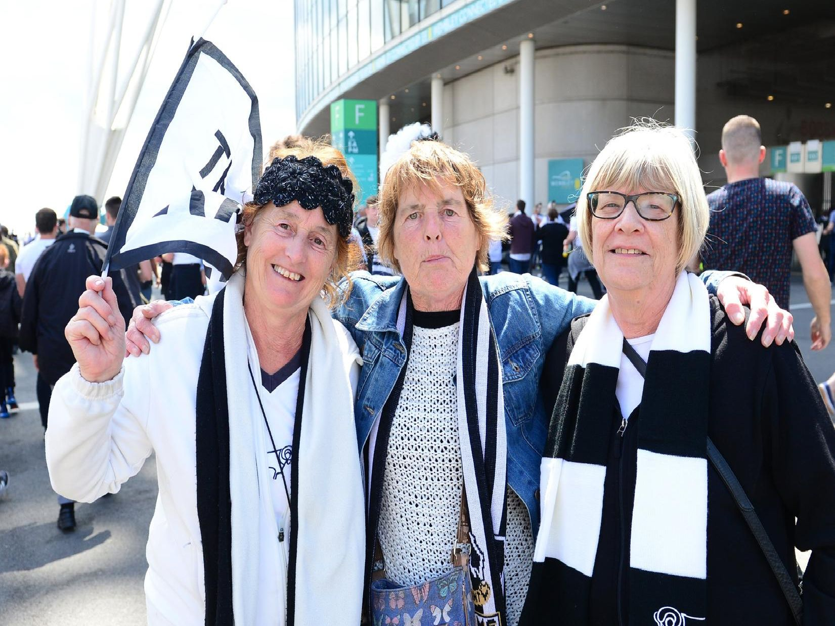 Derby County fans light up Wembley Way.