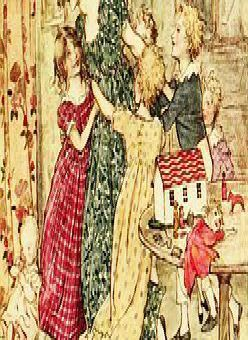 A painting portraying a Christmas from the past. Inset, a plum pudding.