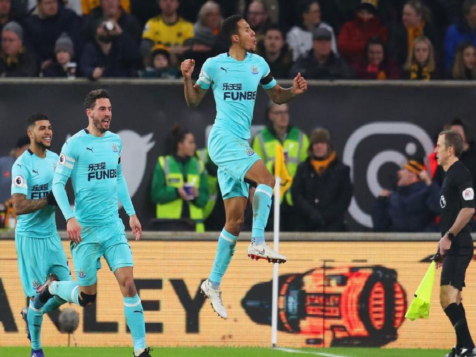 Isaac Hayden celebrates his goal against Wolves.