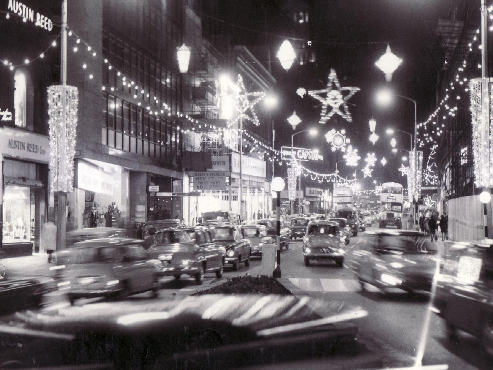 A truly sparkling and busy scene in this 1960s shot of Sheffield at Christmas.