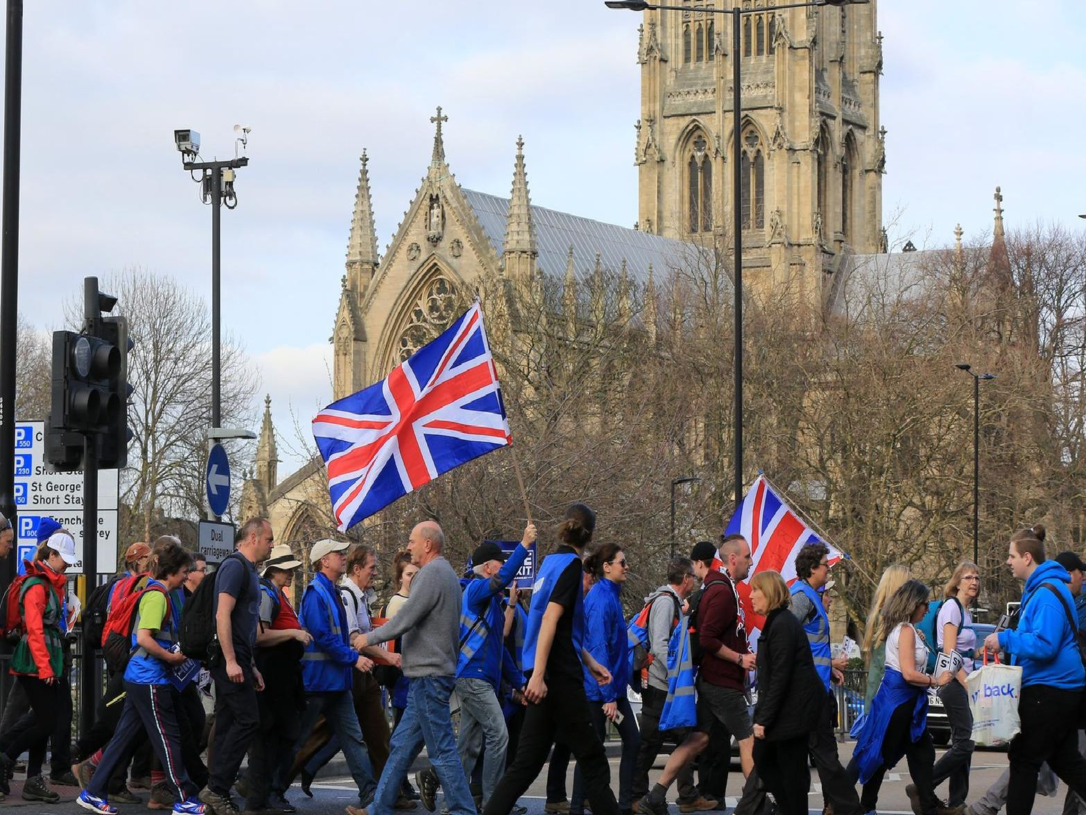 The Leave Means Leave march arrives in Doncaster.