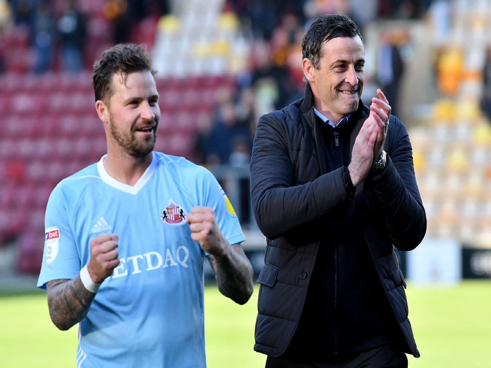 Jack Ross and Chris Maguire celebrate a crucial win at Bradford City