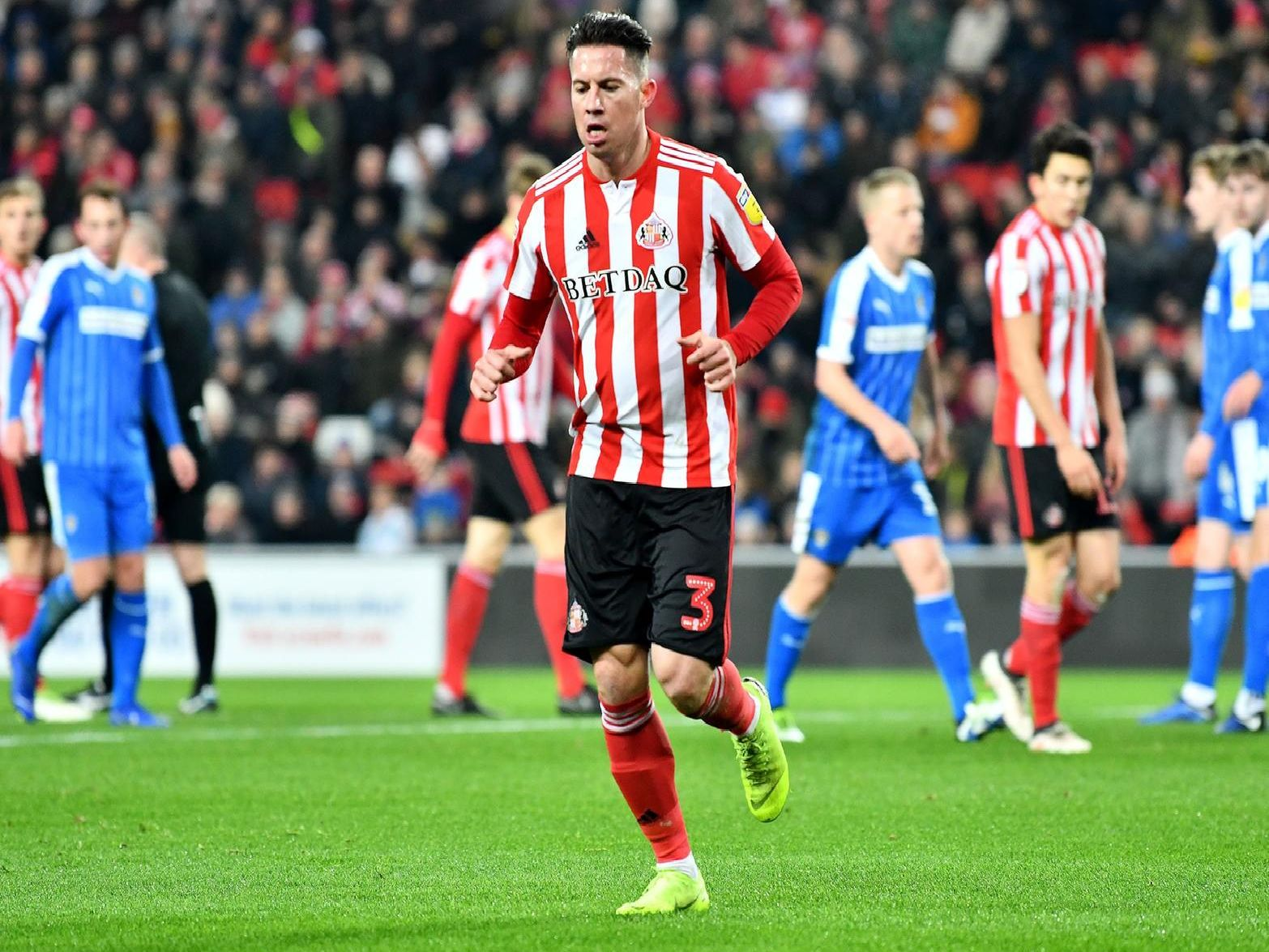 Bryan Oviedo was forced off with an injury against Shrewsbury.