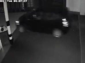 CCTV footage of the thieves driving into the shopping centre.