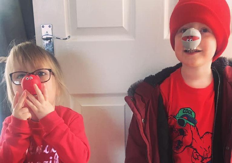 Red Nose Day in Sunderland. Evelyn, age 3 and Francis, age 5. Picture: Alexandra Evelyn.