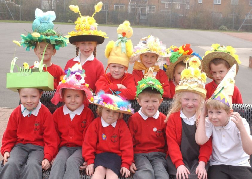 Easter bonnets at Bernard Gilpin Primary School, Houghton, in 2004.