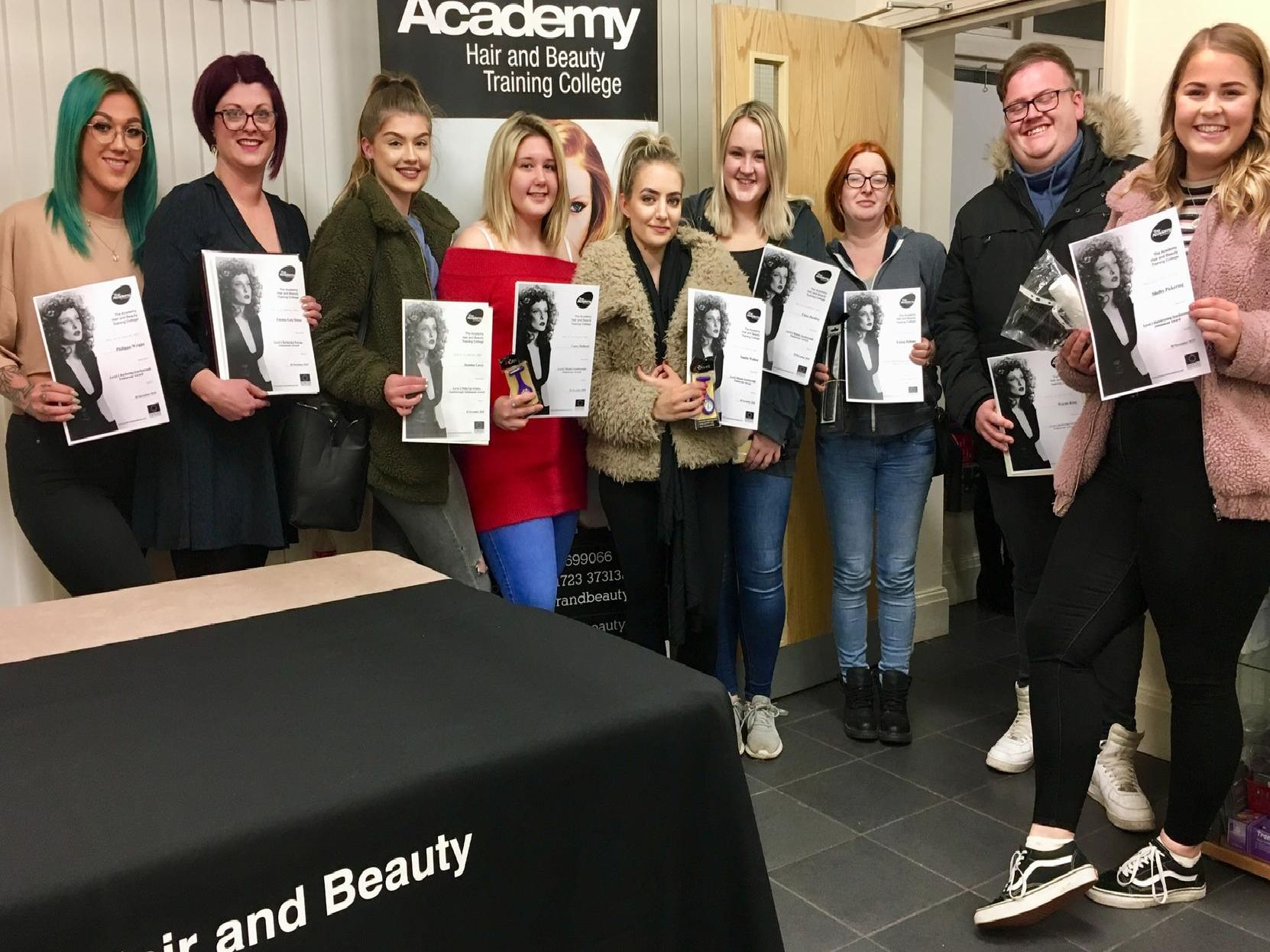 Endeavour and Attainment Awards - Philippa Wright, Emma Lea Stone, Jasmine Lacey, Casey Holland, Sophie Walton, Chloe Hardisty, Emma Dobson, Wayne King, Shelby Pickering.