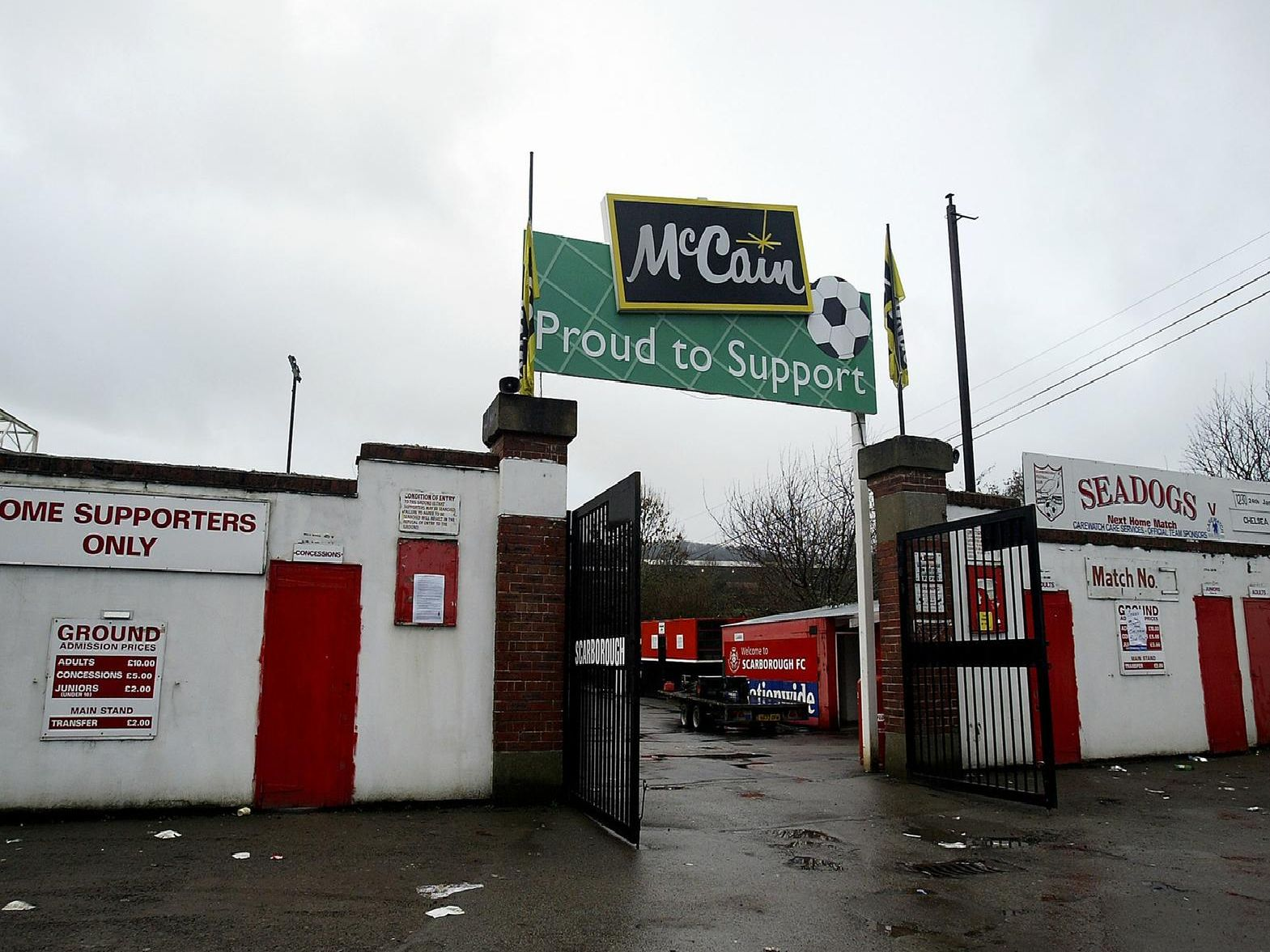 Gates at the entrance to the ground