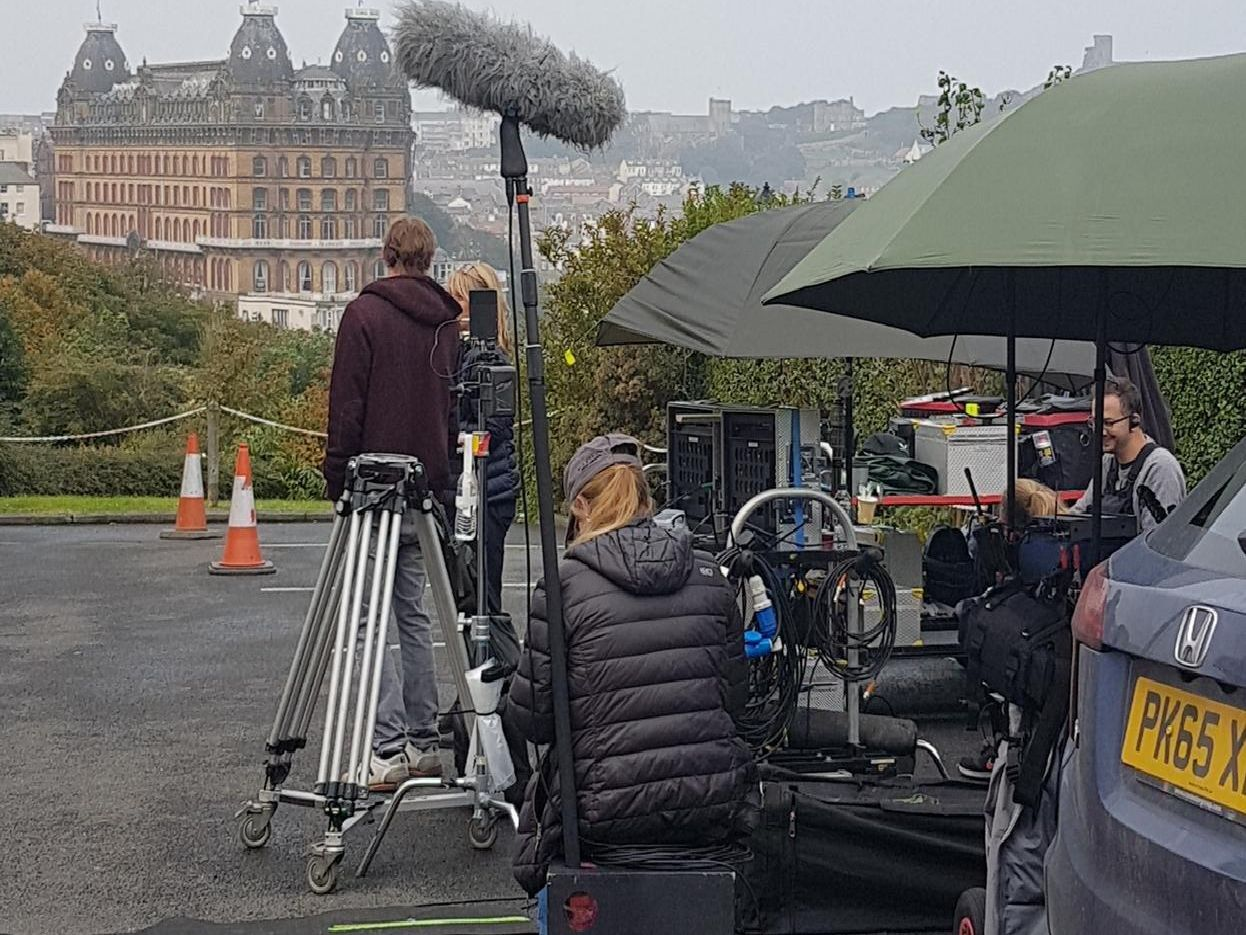 Filming on the coast