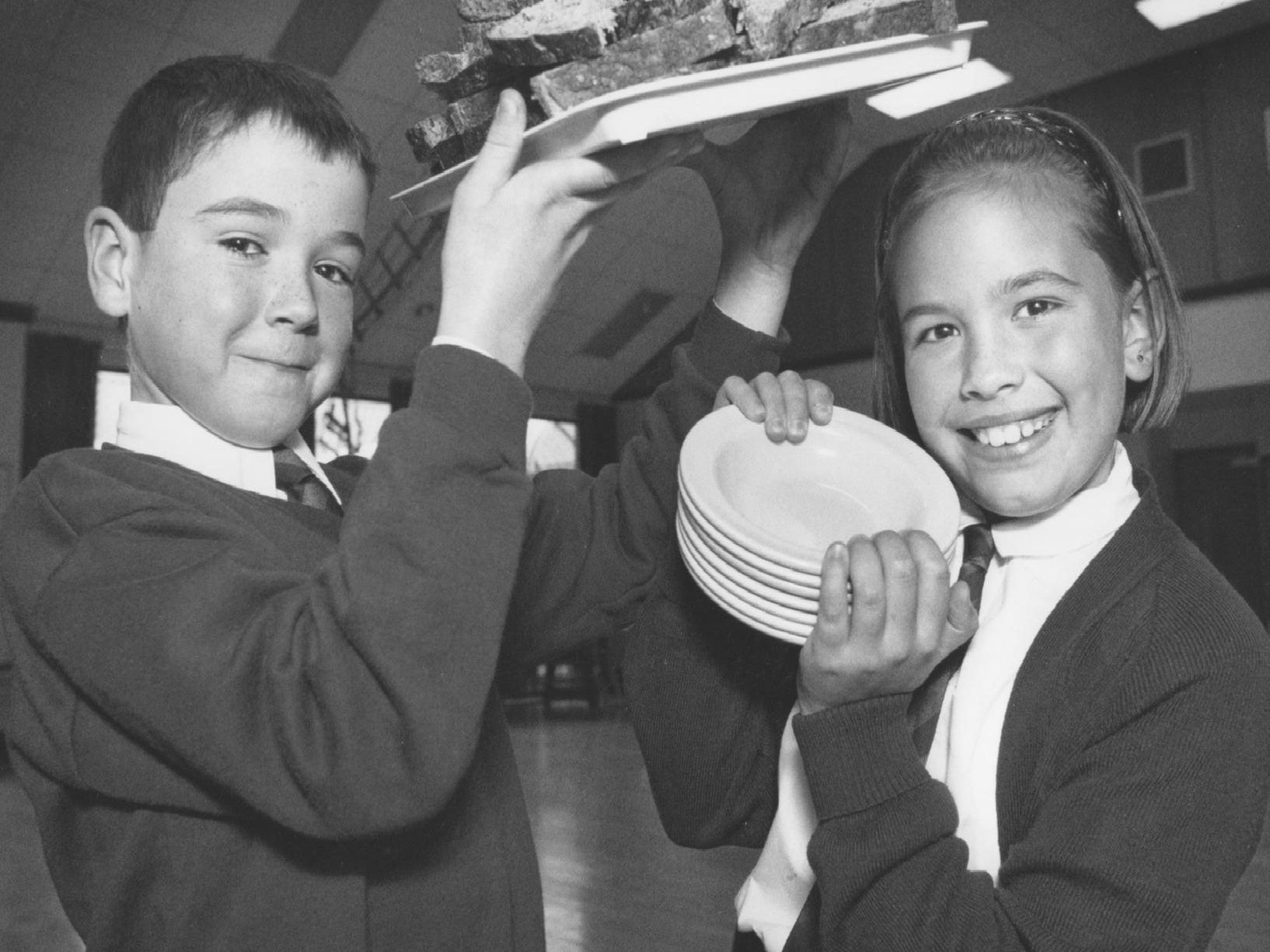 St Peter's RC Primary School got involved in a soup making day in October, 1997 - pictured serving the soup with style were pupils Jim Soden and Billie-Jo Perrin.