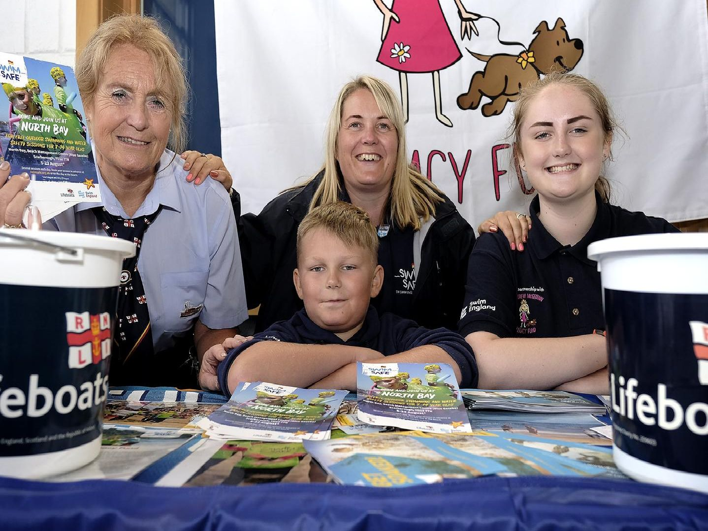 RNLI's Eve Lee with Donna Loveland, Leon and Ruby.