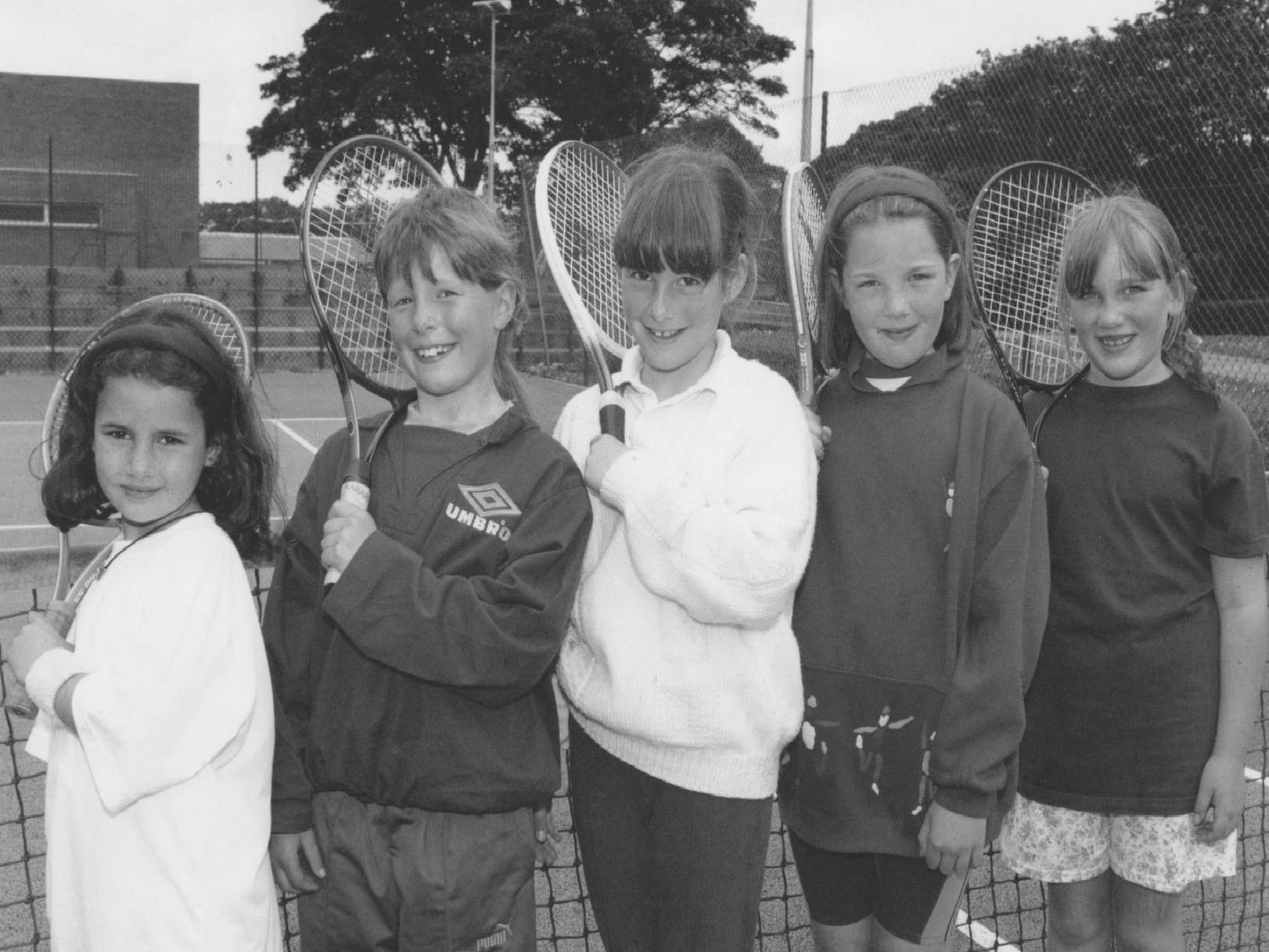 It was the girls' tennis tournament at the sports centre in June 1995. These were the five finalists, from left, Cathy Dalton, Rebecca Gibson, Ruth Griffiths, Hannah Cunningham, Suzanne Pennock.