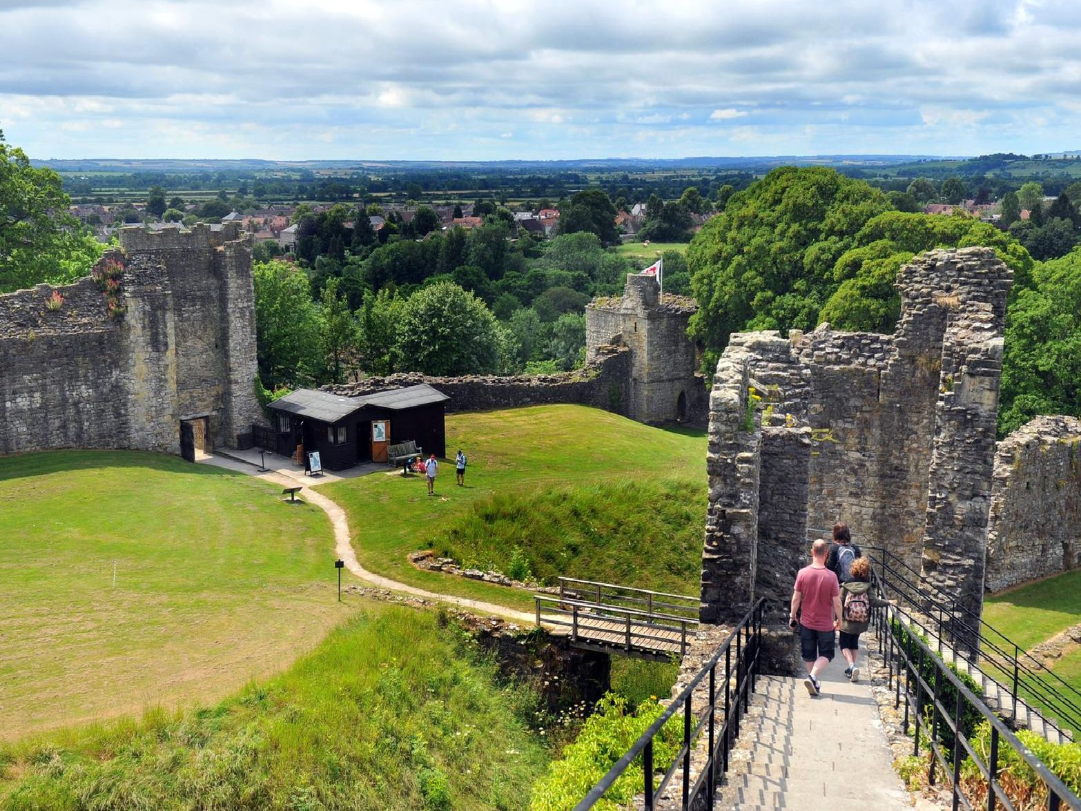 Pickering Castle is a motte-and-bailey fortification that offers extensive views of the North Yorkshire countryside