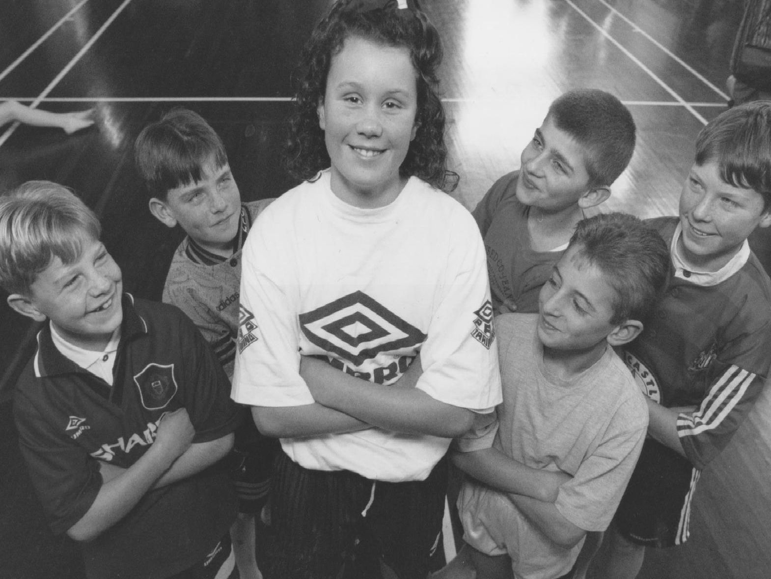 Eleven year old Wheatcroft School pupil, Natalie Wilford, had become the captain of the school's five-a-side football team in February 1996. Natalie is pictured with her team, from left, Daniel Morris, Mark Hindhough, Wissam Orfali, James Gorman, and Thomas Scales.