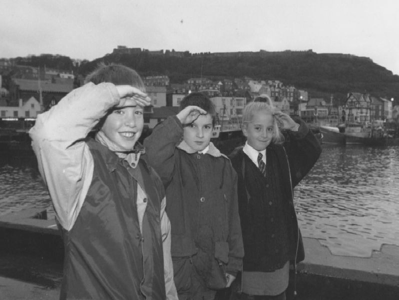 St Martins School embarked on a tour around Scarboroughs West Pier, Holbeck Hill and South Cliff in November 1995. Pupils pictured left to right are Stuart Gregory, John Ascott and Amy Dailey.