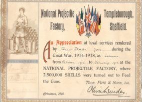 Retro Kelham Island exhib: a certificate awarded to Annie Stocks, who worked at the National Projectile Factory in Templeborough, 1916-1918
