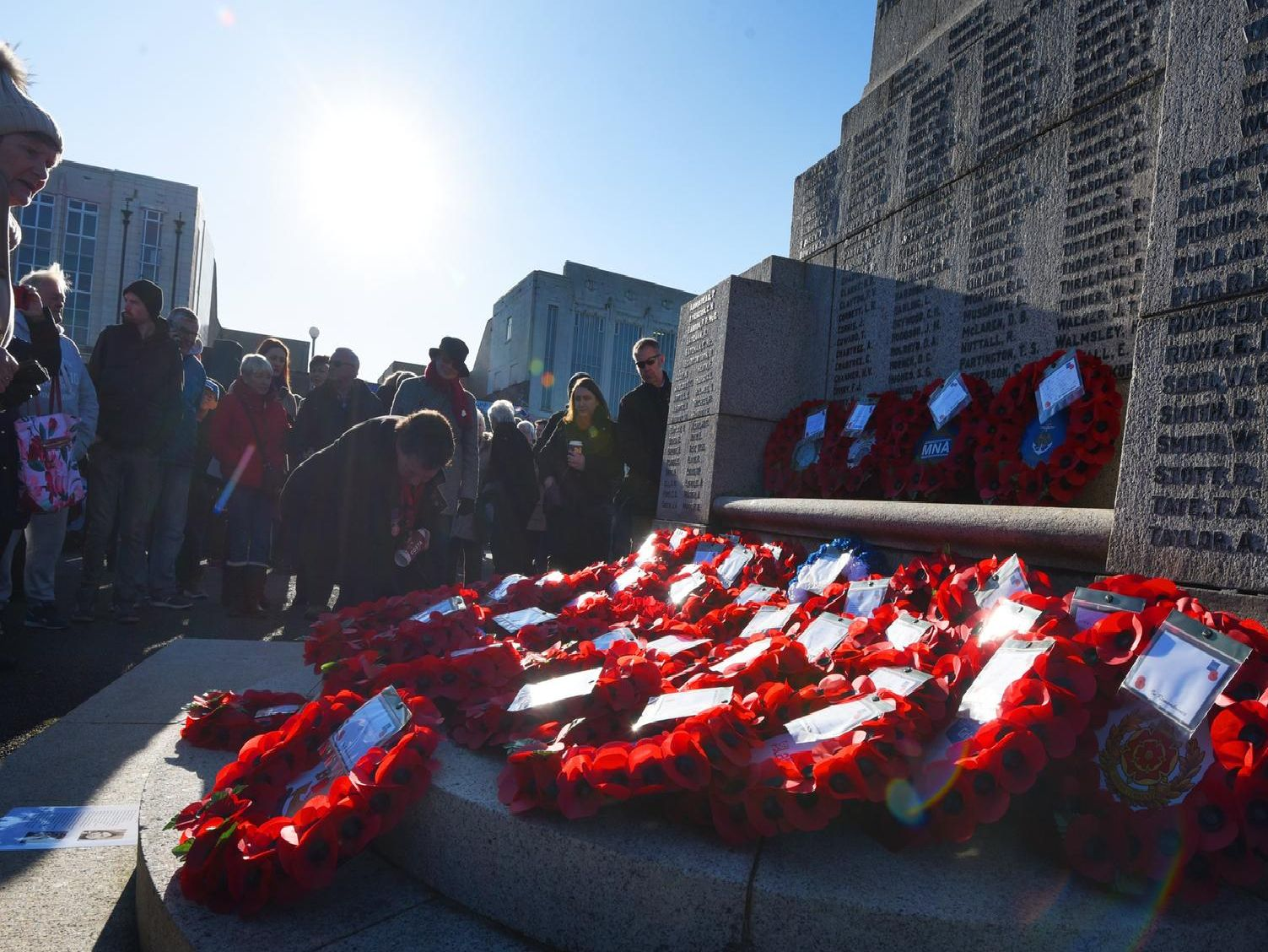 Wreaths are laid on the cenotaph on Remembrance Day.