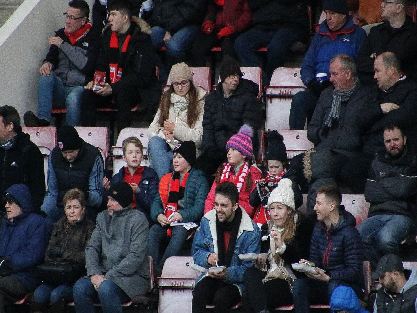Morecambe v Mansfield Town fan photos.