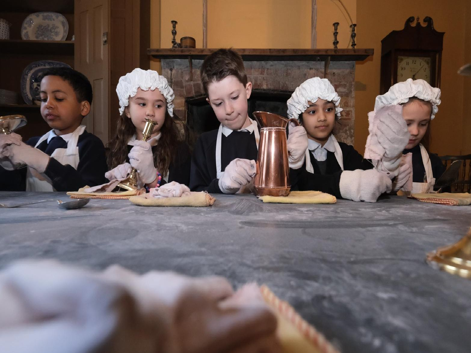 Dallas Road Primary School pupils dress in period clothing for a tour of the Judge's Lodgings Museum