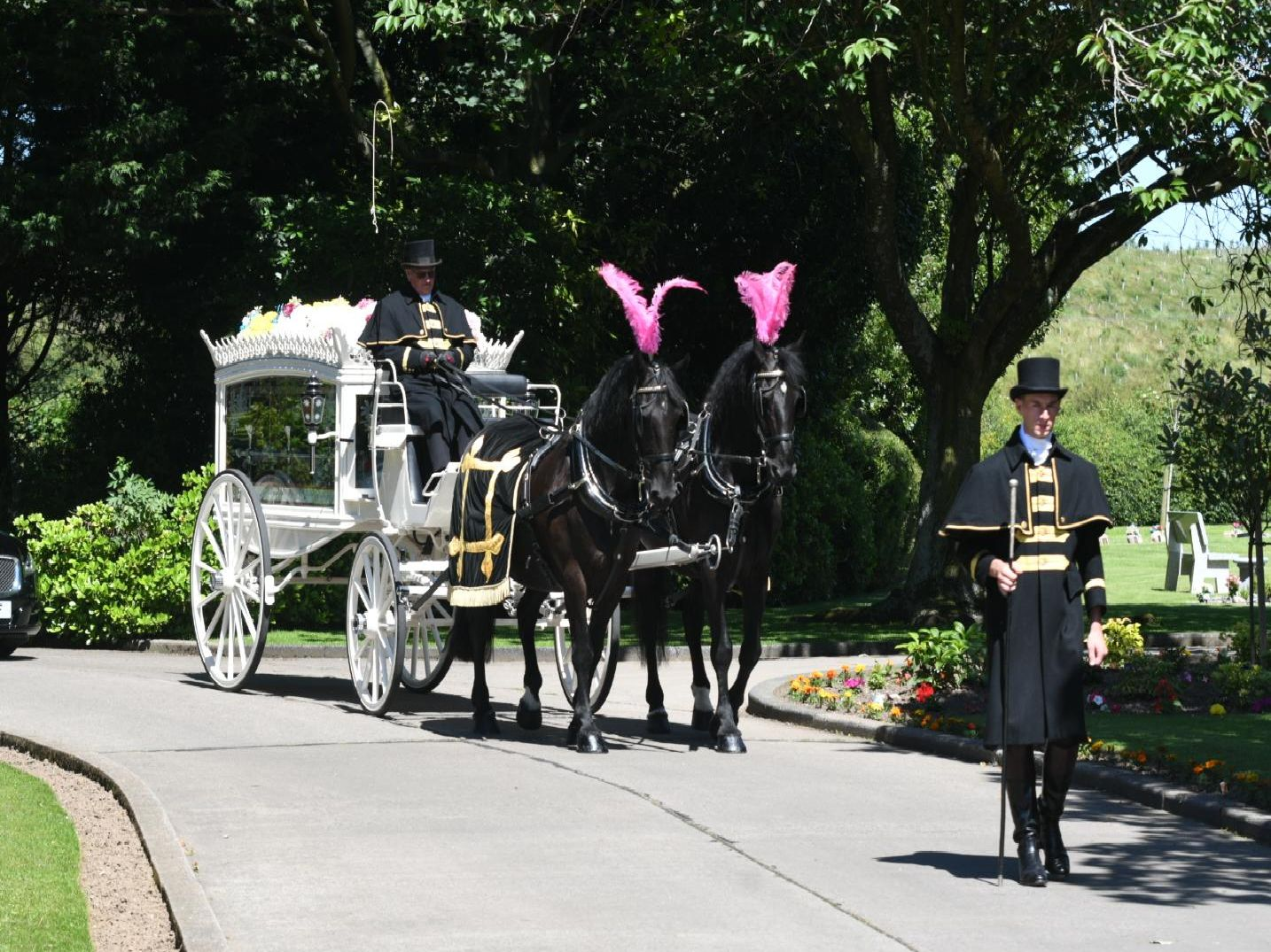 Ziggy Middleton's funeral cortege arrives at Lancaster & Morecambe Crematorium.