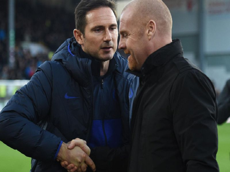 Burnley boss Sean Dyche with Chelsea manager Frank Lampard at Turf Moor